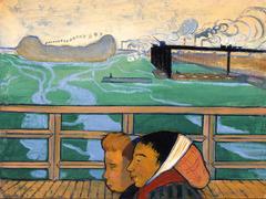 deux femmes sur la passerelle d'Asnières