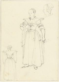 Drie schetsen naar het kostuum van een vrouw uit Axel