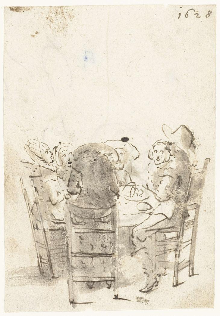 Een gezelschap aan tafel