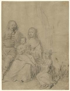 Familiegroep bestaande uit een ouderpaar en twee dochters