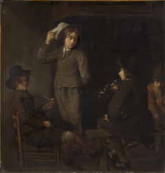 Four Youths around a Fire