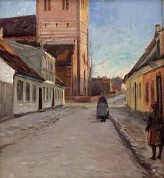 Gade i Køge med Nicolai kirke til venstre