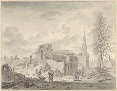 Gezicht op het Rapenburg te Leiden na de Buskruitramp van 12 januari 1807