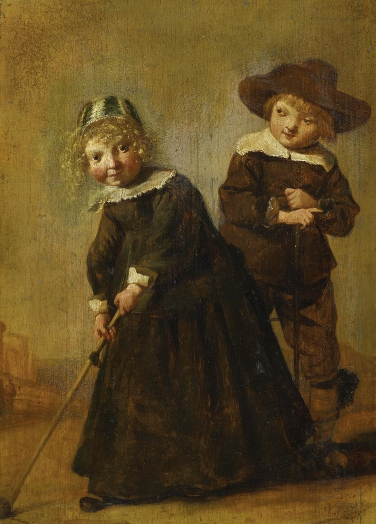Girl and Boy at a Game of Kolf