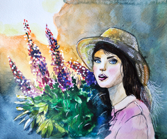 Girl with flowers, watercolor