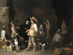 Guardroom interior with hunters and dogs