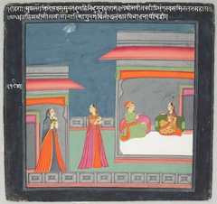 Hero and Heroine Subject: Lovers in Pavilion; Two Attendants in Courtyard