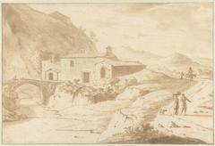 Heuvellandschap met een kapel bij een brug