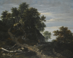 Hilly Wooded Landscape with a Falconer and a Horseman