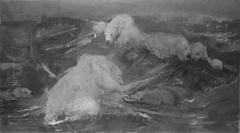 IJsberen beklimmen een ronddrijvende sloep