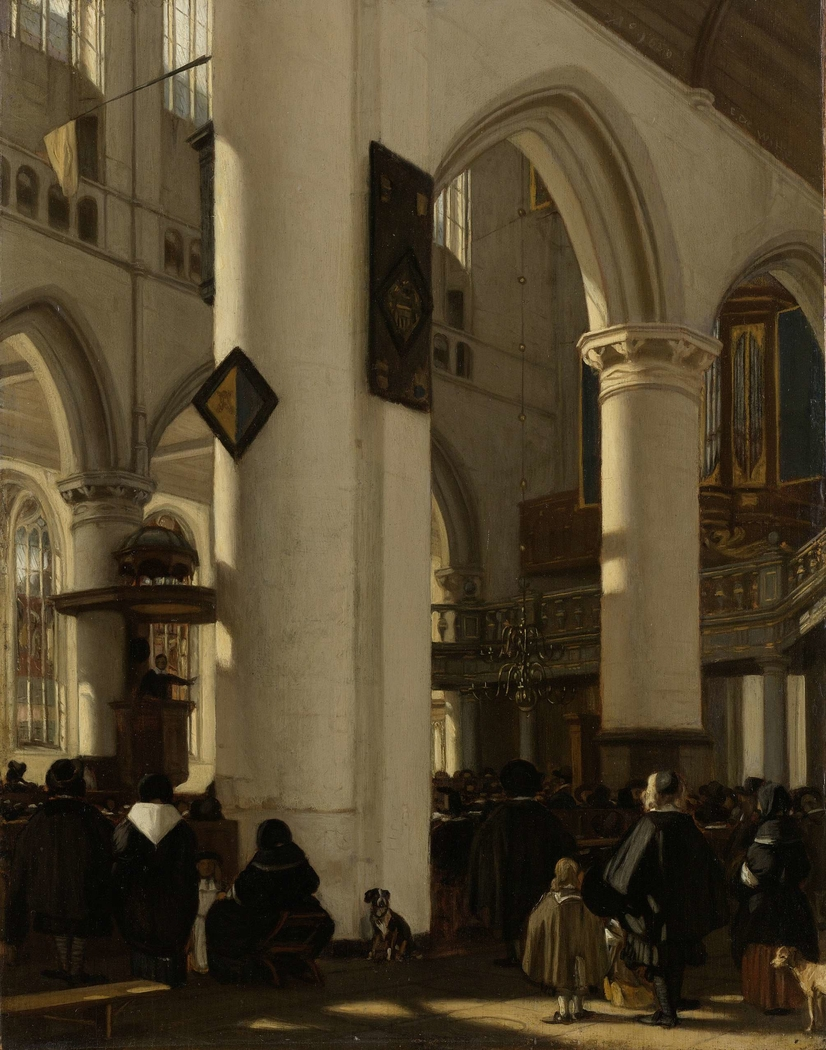 Interior of a Protestant, Gothic Church during a Service
