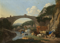 Italianate Landscape with Herders and Animals resting by a River under a Bridge