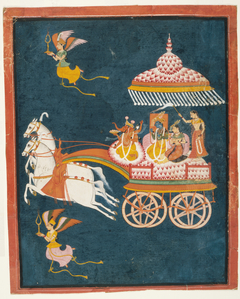 Krishna and Rukmini as Groom and Bride in a Celestial Chariot Driven by Ganesha