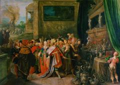 Krösus zeigt Solon seine Schätze (Im Hintergrund Krösus auf dem Scheiterhaufen)