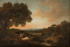 Landscape with a Sleeping Child and a Woman Milking a Cow