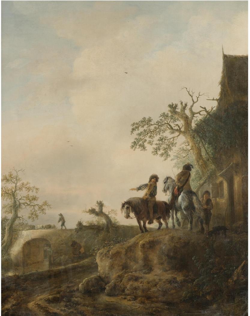 Landscape with horsemen halting at an inn