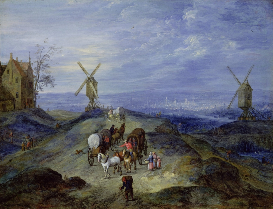 Landscape with two Windmills