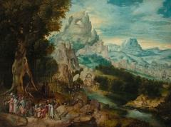 Landschaft mit der Predigt Johannes d. Täufers