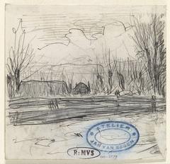 Landschap met huis tussen bomen achter hek