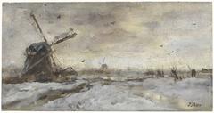 Landschap met molen in de sneeuw