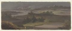 Landschap met rivierbocht en donkere lucht
