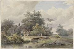 Landschap met stenen brug bij een huis