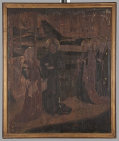 Legnica polyptych - right wing external - upper panel - obverse: St Barbara, St Catherine, St Dorothy; reverse: Christ and the Samaritan
