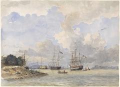 Maas voor Rotterdam, met een Amerikaans en Zweeds schip