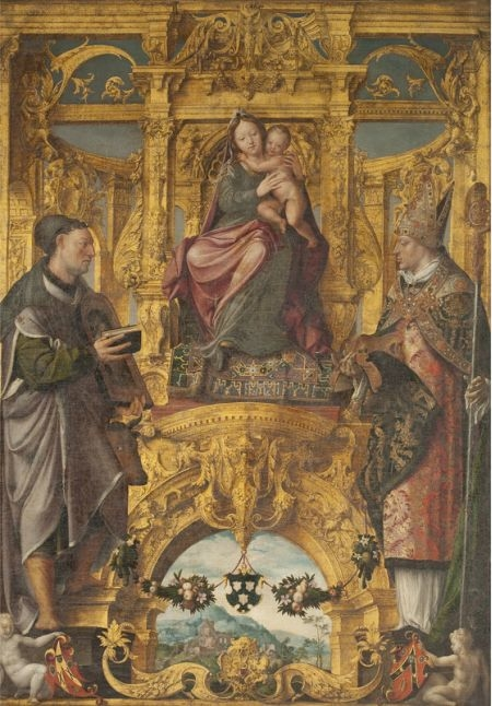 Madonna with Saint Luke and Saint Eligius, patron saints of the artists' and saddlers' guild