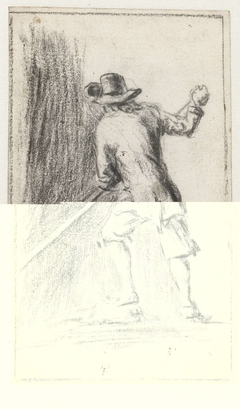 Man met een vaarboom, op de rug gezien