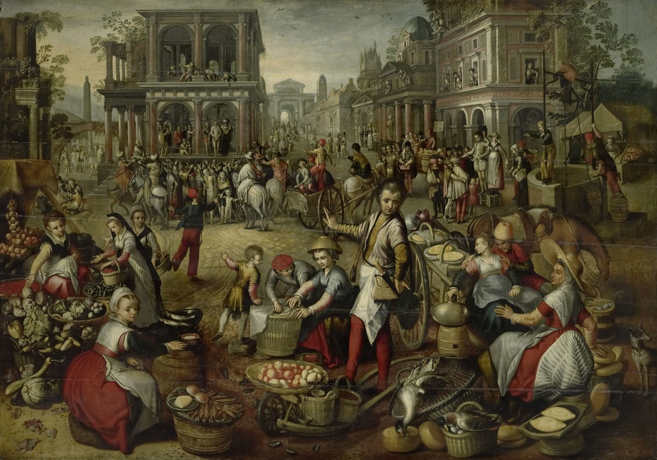 Marketplace, with the Flagellation, the Ecce Homo and the Bearing of the Cross in the background