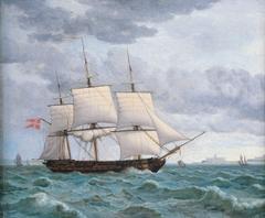 Naval Frigate Under Sail