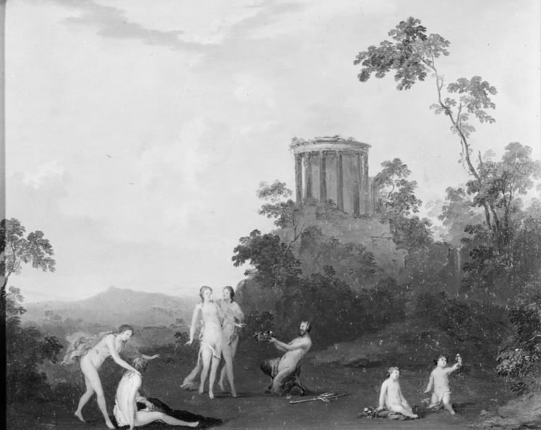 Nymphs and Satyr in front of a Temple
