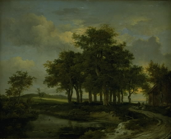 Oak Trees near a Road, Evening