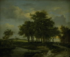 Oak Trees near a Road, Evening