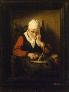 Old Woman Spinning