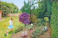 'Olivia in garden, Esher', (2013), oil on linen, 71 x 107 cm