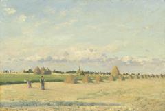 Open Fields with Haystacks near Pontoise