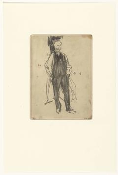 Paul Verlaine, staande met de handen in de zakken
