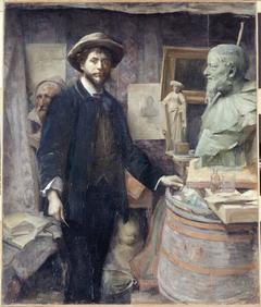 Portrait de Jean Carriès dans son atelier
