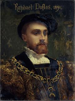 Portrait de Raphaël Duflos (1857-1946), sociétaire de la Comédie-Française, dans le rôle de don Carlos d'Hernani