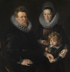 Portrait of a married couple with a child