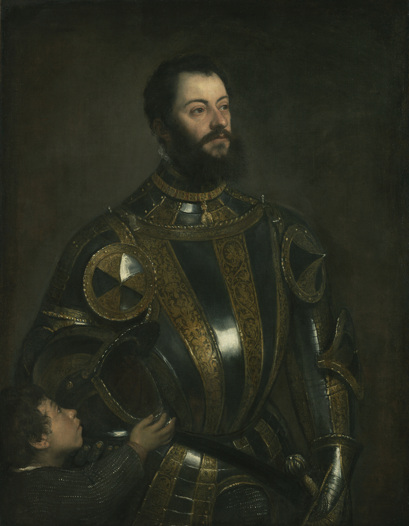 Portrait of Alfonso d'Avalos, Marchese del Vasto, in Armor with a Page