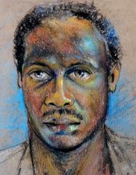 Portrait of Mubarak Pastel work