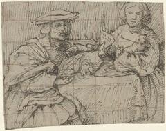 Portret van een aan tafel zittende man en vrouw