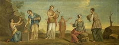 Possibly Sappho and her Companions (possibly after an Antique fresco - the Aldobrandini Wedding)