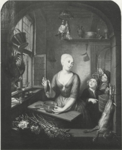 Poultry Shop with a Woman and Two Boys