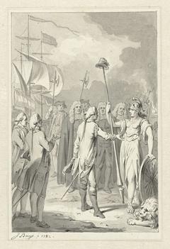 Prins Willem V biedt de Nederlandsche Maagd zijn diensten aan