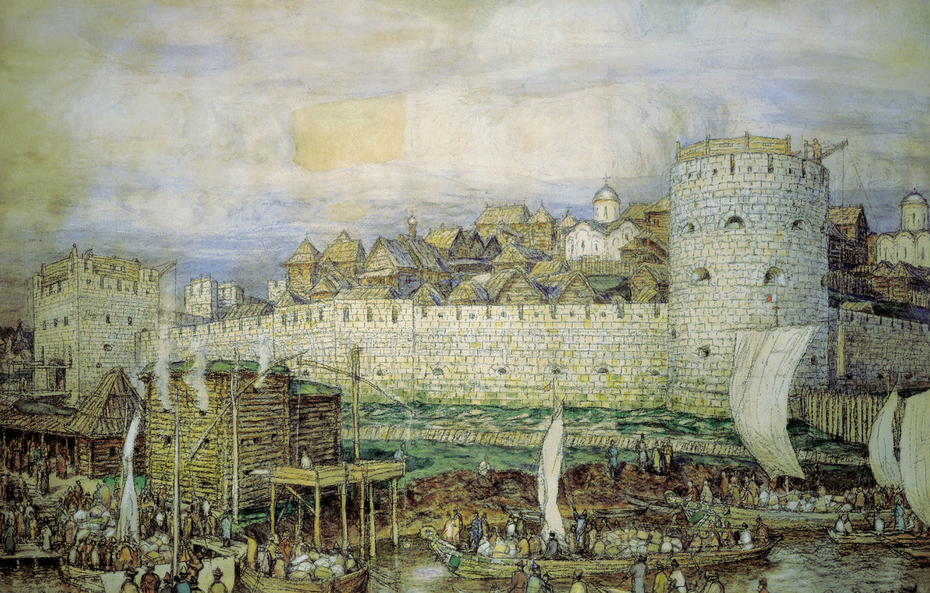 Probable view of the white-stone Kremlin of Dmitry Donskoy. The end of the 14th century