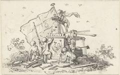 Putti bij symbolen met betrekking tot de VOC, kamer van Amsterdam en de Franse haan